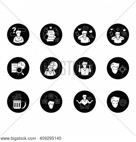 Focus Mind Flat Icons Set. Signs Collection For Attention Control, Goal Setting, Mindfulness Exercis