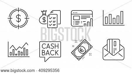Dollar Target, Column Chart And Euro Money Line Icons Set. Infochart, Web Report And Money Transfer