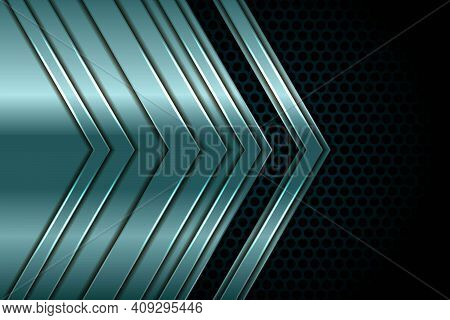 Silver 3d Green Abstract Arrow Overlap Dimension On Black Circle Texture Background. Realistic Overl
