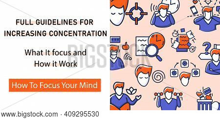 Focus Mind Web Banner. Template For Landing, Web Page, Layout. Attention Control Website Interface I