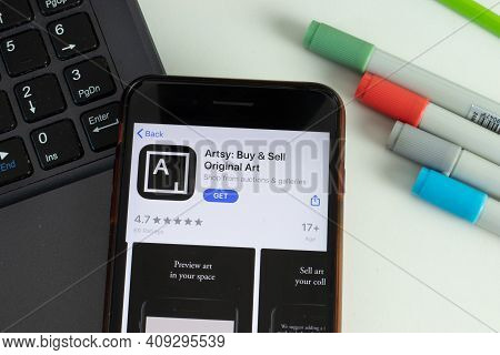 New York, Usa - 17 February 2021: Artsy Buy And Sell Original Art Mobile App Icon On Phone Screen, I