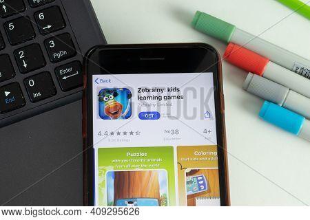 New York, Usa - 17 February 2021: Zebrainy Kids Learning Games Mobile App Icon On Phone Screen, Illu