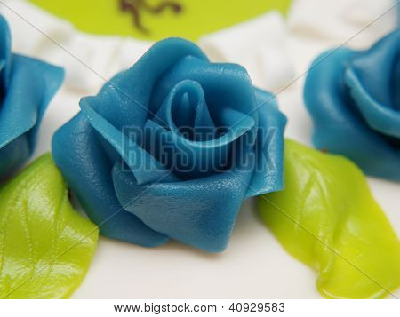 Baptism Cake, White Sugar Paste, Blue Roses