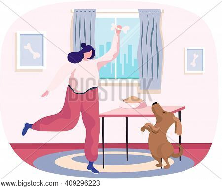 Pet Owner Happy Woman Playing With Dog At Home, Funny Girl Jumping Training Puppy, Gives Him Bone. F