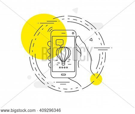 Air Balloon Line Icon. Mobile Phone Vector Button. Flight Transport With Basket Sign. Aircraft Symbo