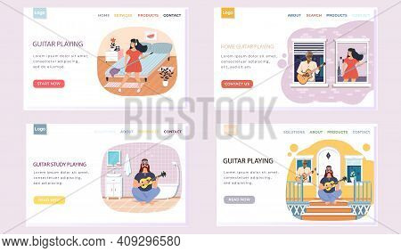 Set Of Illustrations With People Make Music On Stringed Instrument. Website Guitar Playing. Guitaris