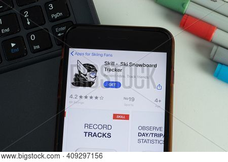 New York, Usa - 17 February 2021: Skill Ski Snowboard Tracker Mobile App Icon On Phone Screen, Illus