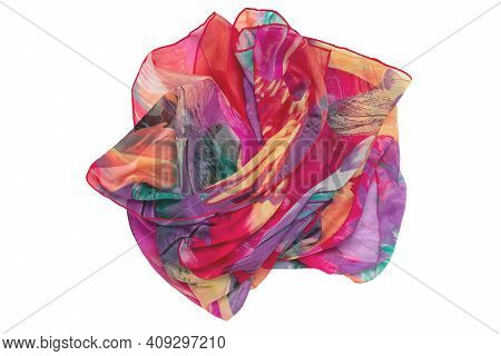 Silk Shawl Isolated. Close-up Of A Beautifully Folded Multicolored Silk Scarf Or Headscarf Isolated