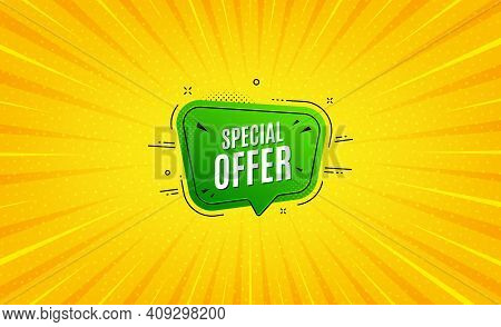 Special Offer Banner. Yellow Background With Offer Message. Discount Sticker Shape. Sale Coupon Bubb