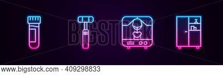 Set Line Test Tube With Blood, Neurology Reflex Hammer, X-ray Machine And Medicine Cabinet. Glowing