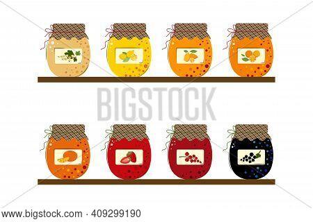 Homemade Handmade Jam From Mandarins, Kumquats, Lemons, Oranges, Blackcurrant, Red Currant, White Cu