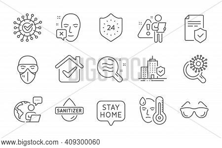 Face Declined, Eyeglasses And Insurance Policy Line Icons Set. Skin Condition, Fever And Hand Saniti