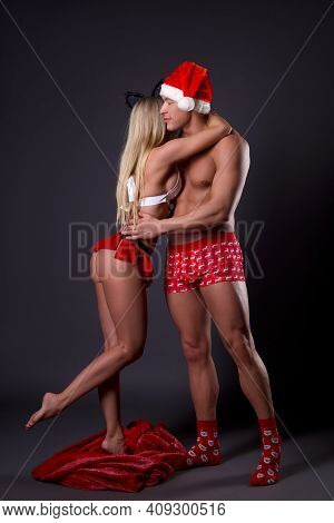 Sexy Santa Claus Meet Girlfriend From Red Present Sack