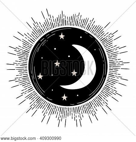 Magic Ball Vintage Hand Drawing. Heavenly Sphere With A Crescent Moon And Stars, The Concept Of The