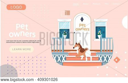 Pet Owners Landing Page Template. Dog Stands On Doorstep With Beautiful White Retro Vintage Front Do