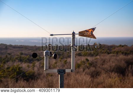 Rauen, Brandenburg, Germany - February 21, 2021 Weather Station At The Observation Tower In The Raue