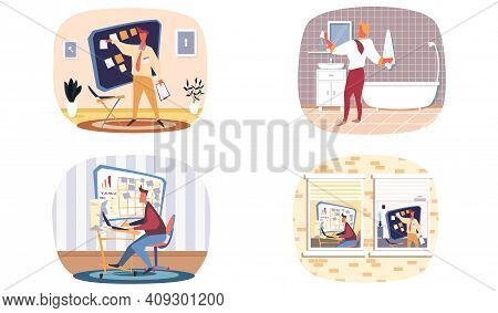 Set Of Scenes With Man Make Organizing Tasks. Planning And Time Management Concept With Person Organ