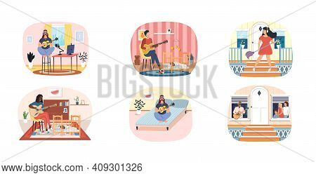 Set Of Illustrations People Take Care Of Children, Play Guitar At Home. Musicians Practice In Music.
