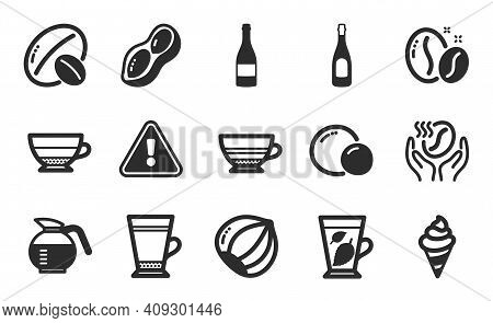 Coffeepot, Coffee And Champagne Bottle Icons Simple Set. Ice Cream, Peas And Mint Leaves Signs. Latt