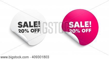 Sale 20 Percent Off Discount. Round Sticker With Offer Message. Promotion Price Offer Sign. Retail B