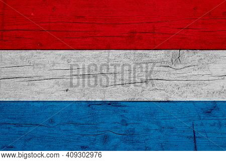 Flag Of Luxembourg. Wooden Texture Of The Flag Of Luxembourg.