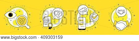 Medical Pills, Rainy Weather And Recycle Line Icons Set. Licence, Cell Phone And Deal Vector Icons.