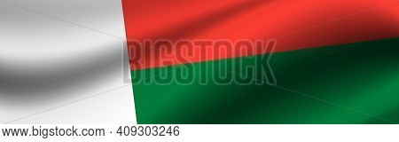 Banner With The Flag Of Madagascar. Fabric Texture Of The Flag Of Madagascar.