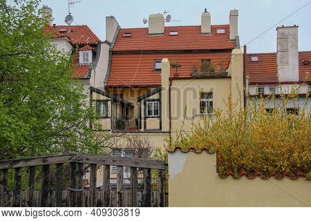 Prague, Czech - April 24, 2012: This Is Old Historical Residential Buildings In Hradcany District.