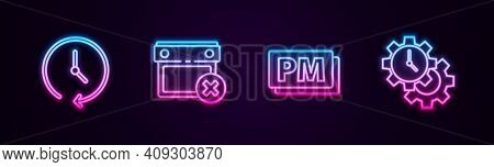 Set Line Clock, Calendar Date Delete, Pm And Time Management. Glowing Neon Icon. Vector