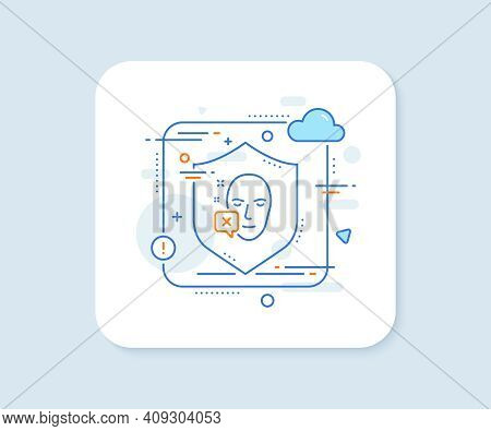 Face Declined Line Icon. Abstract Vector Button. Human Profile Sign. Facial Identification Error Sym