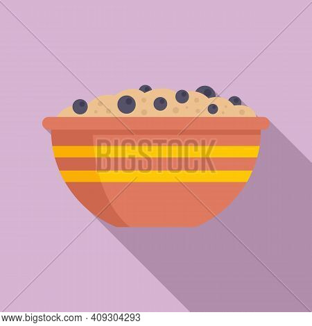 Cereal Flakes Bowl Icon. Flat Illustration Of Cereal Flakes Bowl Vector Icon For Web Design