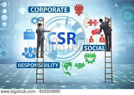 Concept of CSR - corporate social responsibility with businessma