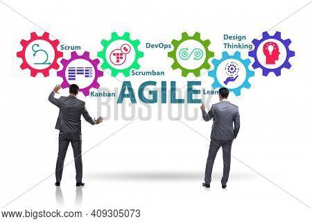 Businessman in various agile methods concept