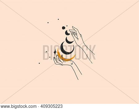 Hand Drawn Vector Abstract Stock Flat Graphic Illustration With Logo Elements , Woman Fashion Magic
