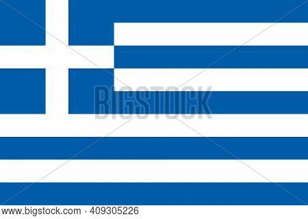 Flag Of Greece. The Color And Size Of The Original. National Flag Of Greece. Official National Greec