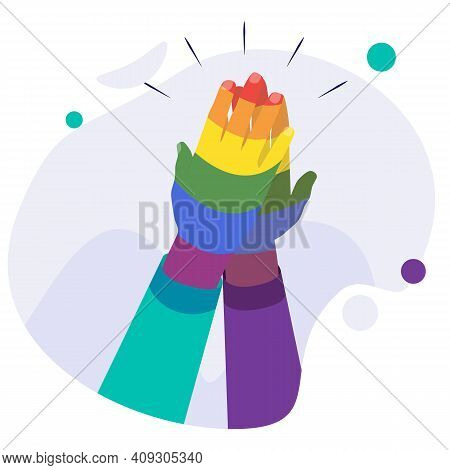 Zero Discrimination Day Composition With Image Of Rainbow Colored Human Hand Vector Illustration. Ha
