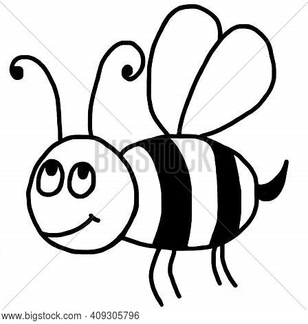 Bee, Bumblebee. A Black-and-white, Cartoon Graphic Drawing Of A Bee Or Bumblebee. Wild Insects. Pict