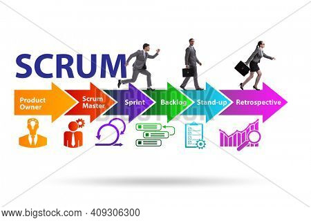 Business people in SCRUM agile method concept