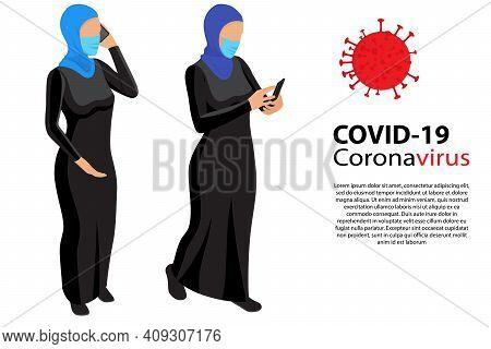 Muslim Women Wearing Face Mask Protective For Spreading Of Disease Virus. Group Muslim Women Wearing