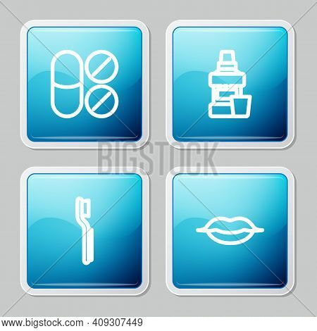 Set Line Painkiller Tablet, Mouthwash Bottle, Toothbrush And Smiling Lips Icon. Vector