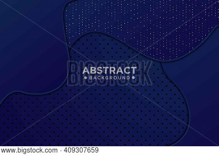 Abstract 3d Dark Blue Wavy Overlapping Wavy Shapes With Glitter And Dot Design Modern Luxury Futuris