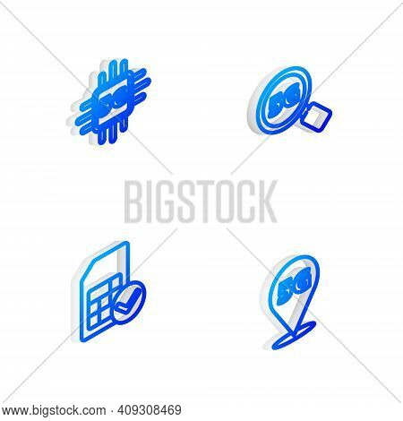 Set Isometric Line Search 5g Network, Processor, Sim Card And Location Icon. Vector