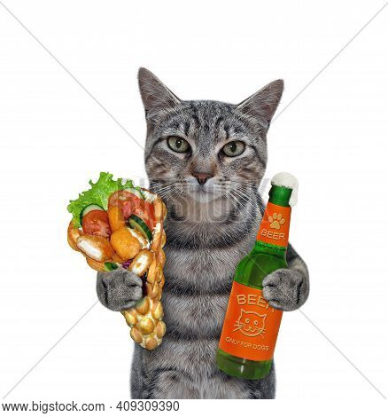 A Gray Cat Holds A Bottle Of Beer And Soft Waffles With Chicken Nuggets. White Background. Isolated.