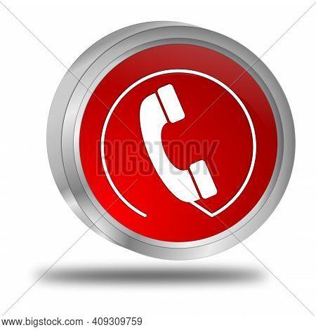 Hotline Button Red On White Background - 3d Illustration