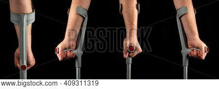 Person Hands With Forearm Crutches. Black Isolated Background. View Of Silhouettes From Different Si