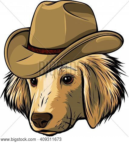 Gangster Dog With Fedora Hat Vector Illustration
