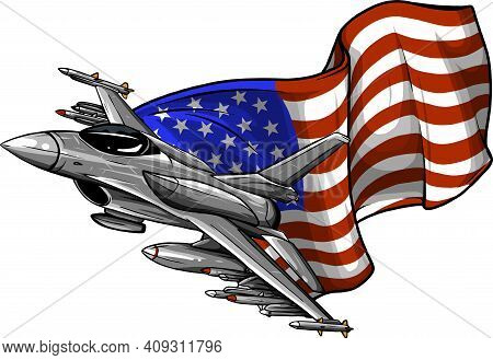 Military Fighter Jets With American Flag. Vector Illustration