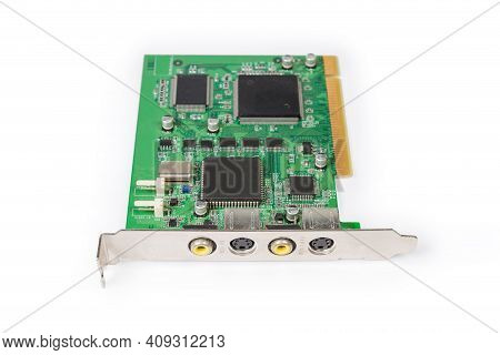 Old Internal Analog Video Capture Card For Pci Bus Used In Desktop Computers On A White Background,