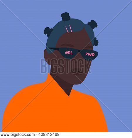 Portrait Of Beautiful Black Teenage Girl In Sunglasses With The Inscription Girl Power. Internationa