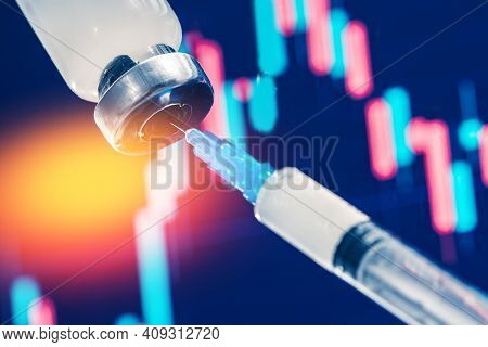 Concept Impact Of Human Medical Vaccination On Stock Market Economy Finance Exchange. Vaccine Vial D